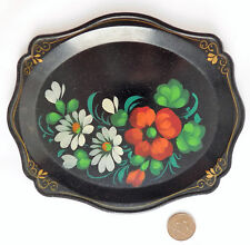 """Small Russian tray plate with painted flower design 8"""" x 6"""" traditional folk art"""