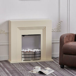 FreeStanding Electric Fireplace MDF White Surround Fire Flicker Flame with Steel