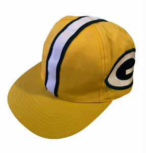 VTG Green Bay Packers Snapback Hat Cap Child Size Hard Hat Style Stripe Yellow