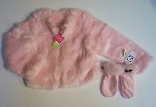 NWT Gymboree City Sidewalk Sz 9 Pink Faux Fur Jacket Coat & Fur Cuff Mittens