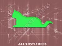 Pegatina Gato 3D Relieve - Color Verde Electrico