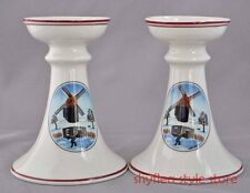 Naif Christmas Villeroy & Boch Candlesticks Pair Candle Holders by Laplau 490