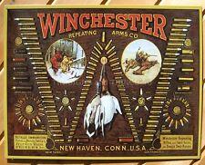Winchester TIN SIGN Bullet Chart hunting ammo gun room vtg metal wall decor 942
