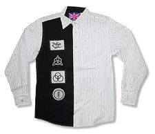 Led Zeppelin Usa 1977 Zoso Symbols Striped Dress Shirt Small New Licensed