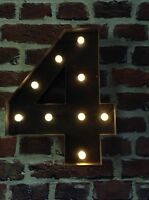 LED CARNIVAL  BIRTHDAY  ANNIVERSARY CELEBRATION NUMBERS  METAL LARGE 33 CM No.4