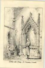 1870 Sedilia And Stoup St Germains Cornwall