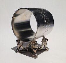 Antique Silverplate Figural Napkin Ring - Lions Carrying Ring