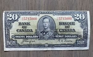 1937 Canada 20 Dollars Bank Note Coyne / Towers !
