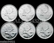 CANADA 2001P TO 2005P COMPLETE CARIBOU 25 CENTS SET UNC (6 COINS)