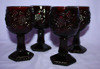 "Set of 4 Vintage Avon 1876 Cape Cod Ruby Red 4-1/2"" Wine Glass Nos 23 27 23 18"