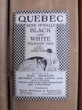 QUEBEC MAP RAND MCNALLY BLACK & WHITE MILEAGE HOTEL DIRECTORY STEAM RAILROADS