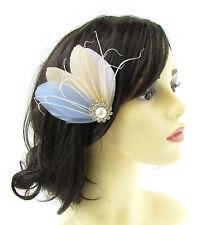 bleu clair crème blanche ivoire argent Fascinator à PLUMES Pince cheveux nuptial