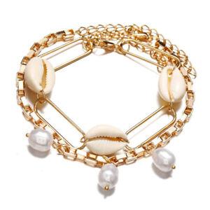Womens Pearl Shell Multilayer Metal Bracelet Bangle Wristband Cuff Chain Jewelry