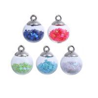 20PCs Christmas Transparent Glass Ball Pentagram Charms Jewelry Making Pendants