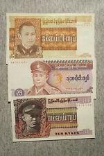 Set of 3 different Burma 1970's-1980's 10, 25 & 35 Kyats Au-Unc.
