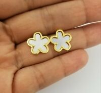 14K Yellow Gold Women White Mother Of Pearl Four Leaf Clover Flower Stud Earring