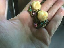 Antique vintage retro HAR style laughing smiling chinaman earrings clip