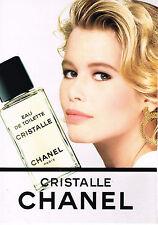 PUBLICITE ADVERTISING 064 1991  CHANEL  eau de toilette CHRISTALLE CL. SCHIFFER