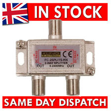 2 way F-Type Screw Connector Splitter For Virgin Cable Sky Satellite COAX Cable