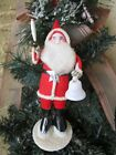 VINTAGE SANTA HOLDING SPUN COTTON CANDLE& BELL& PUTZ&MICA BASE CHRISTMAS DECOR