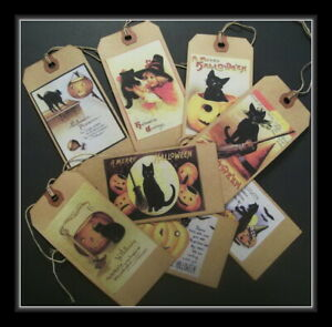 PRIMITIVE HALLOWEEN BLACK CAT HANG TAGS - EIGHT OLD POSTCARD DESIGNS - NEW