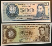 2x Paraguay 1952 Notes, 50 & 500 Guaranies UNC. Money, banknote, currency. Lot.
