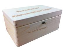 abschließb. Holzbox/ Holzkiste Gr. 1 Kiefer unbeh. incl. Lasergravur n.Wunsch