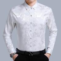 Mens Silk Satin Tops Long Sleeve Paisley Floral Dress Shirts Business Blouse Top