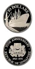 Singapore Ocean Freighter $10 1975 Proof Silver Crown