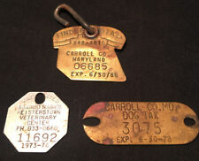 Old Vtg Metal Dog Tags and Phone Tag 1972-1986 Carroll County
