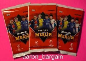 3 2020-21 Topps Merlin Soccer Pack Lot Chrome UEFA Champions League Europa