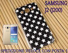 Cover case custodia gel in gomma silicone x Samsung J2 (J200) STELLE BIANCHE
