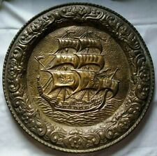 Copper/bronze wall mounted plate (Brig Sailing Ship)