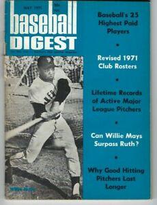 1971 MAY Baseball Digest magazine Willie Mays, San Francisco Giants VG