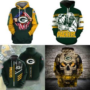 Green Bay Packers Hoodie Sweatshirt Men's Casual Jacket Hooded Pullover Fan Coat