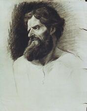 """""""PORTRAIT D'HOMME BARBU"""" Dessin au crayon noir Atelier J. A. PERROUD vers 1890"""