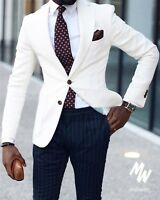 Ivory Jacket Navy Blue Stripe Pants Men Suit Tuxedo Wedding Prom Business Suit