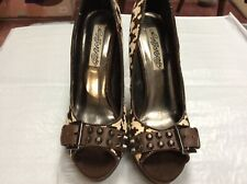 """Naughty Monkey 8.5 M Brown/White patterned with faux spikes 5"""" heels platform"""