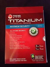 NEW Trend Micro Titanium Maximum Security 2012 3 PCs or 1 Mac Licenses 1 Year