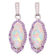 White Fire Opal Amethyst Zircon Silver Women Jewelry Gems Stud Earrings OH4304