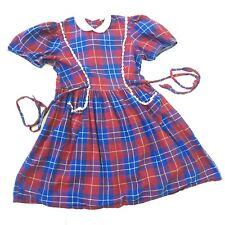Vtg Little Girl Dress 6-8 Prairie Smocked Plaid School Collar Red Blue 50s 60s 7