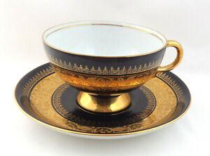 VTG Cup & Saucer 1900's RRW Retsch & Co Bavaria Black & Heavy Gold Decor Germany