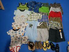 Huge lot of 25 Boys 2t 24 mo Shorts T-Shirts Pajamas summer water shoes sandals