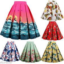 AU SALE Vintage Retro 40s 50s PinUp Rockabilly Swing Midi Skirt Dress S-2XL