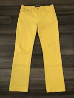 LAUREN JEANS CO LRL Women's Modern Straight Yellow Cotton Blend Jeans-Size 8