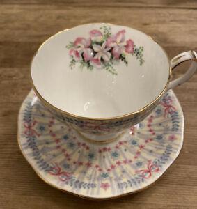 Queen Anne Royal Bridal Gown Orchid Bow Footed Teacup & Saucer ( See Below )