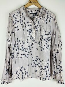 Sportscraft Size 14 Shirt Top Blouse Pink Floral Leaf 100% Silk Long Sleeve