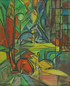 Expressionistic Signed Kadach - Deer IN The Forest After Franz Marc
