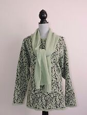 Micha Green Sweater & Attached Scarf Womens XL Fall Winter Designer Wool Blend