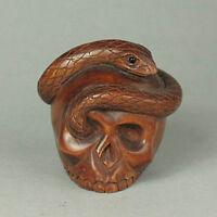 """1940's Japanese handmade Boxwood Netsuke """"SKULL WITH SNAKE"""" Figurine Carving"""